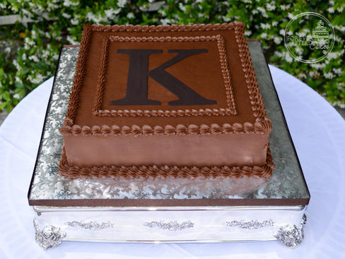 Square Chocolate Monogram Groom's Cake