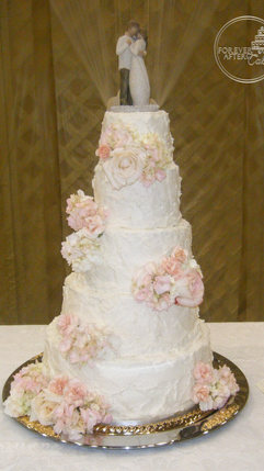 Shabby Chic Wedding Cake with Rustic Texture and  Scattered Flowers rustic