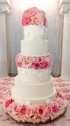 Damask and Lace Wedding Cake with Fondant Flowers and Flower Separator