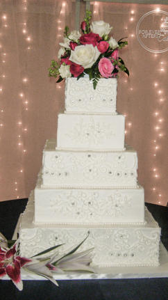 Square Wedding Cake with Piped lace and Rhinestones