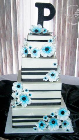 Aqua & Black Anemone and Stripes Wedding Cake
