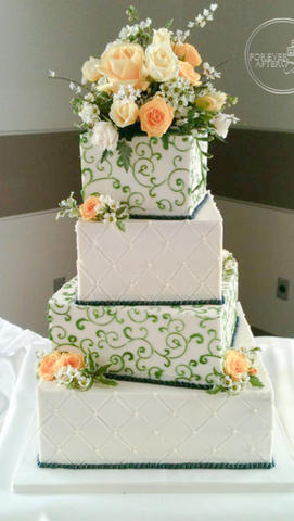 Square Wedding Cake with Green Swirls and Navy Pearls