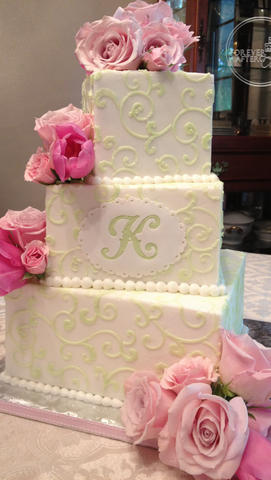 Square Wedding Cake with Green Scrollwork and Monogram
