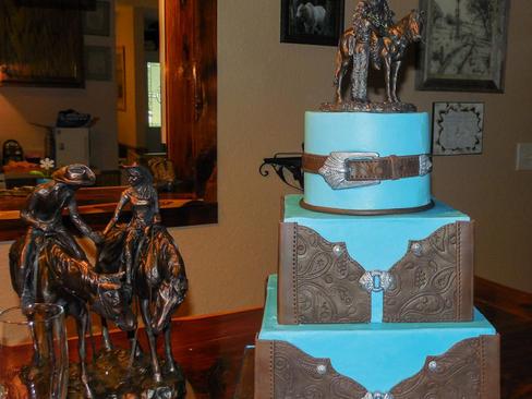 Tooled Leather Groom's Cake