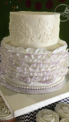 Purple Fondant Ruffle and Lace Top Tiers for Wedding Cupcakes