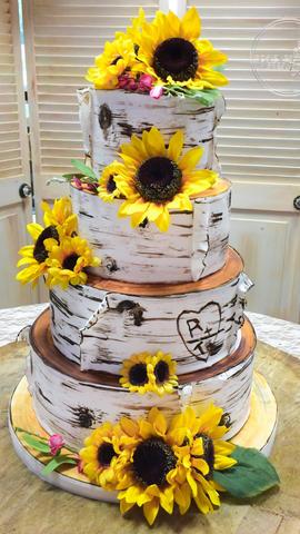 Birch Bark Wedding Cake with Sunflowers