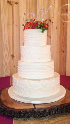 Shabby Chic Wedding Cake with Textured Buttercream