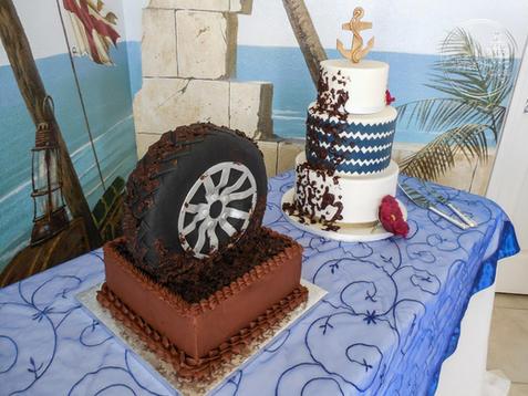 Muddy Tire Groom's Cake with Wedding Cake