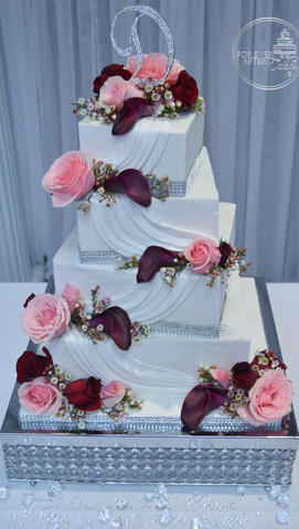 Square Pink and Burgundy Wedding Cake with Swags