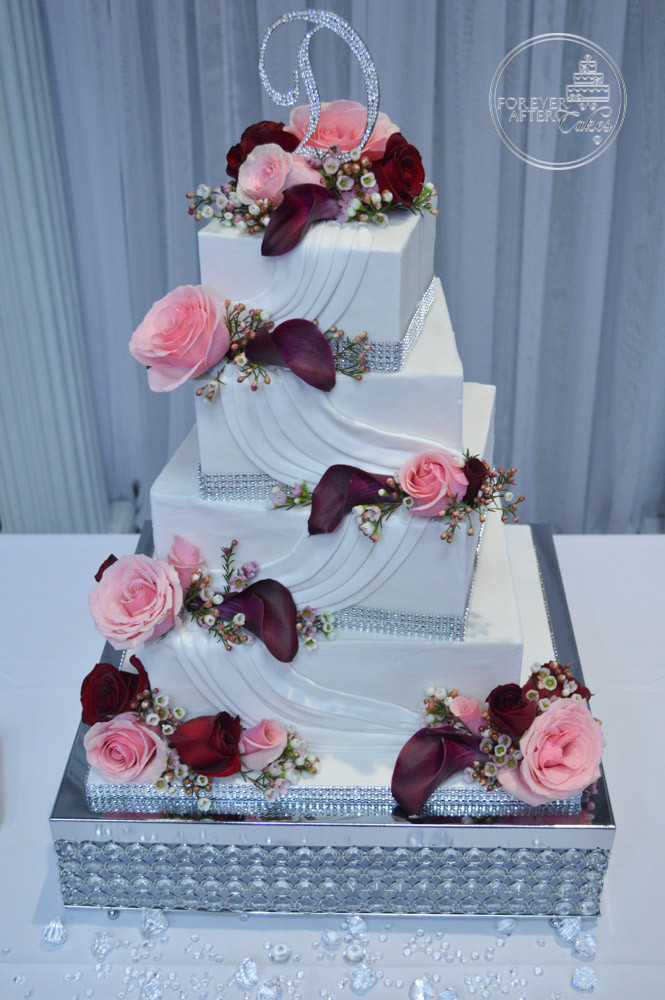Forever after cakes grooms cakes square pink and burgundy wedding cake with swags junglespirit Gallery