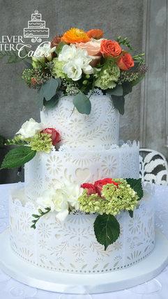 21 Wafer paper papel picado wedding cake