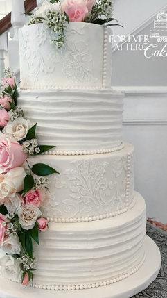 8 Round wedding cake with textured icing