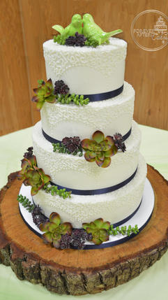 Wedding Cake with Succulents and Cornell