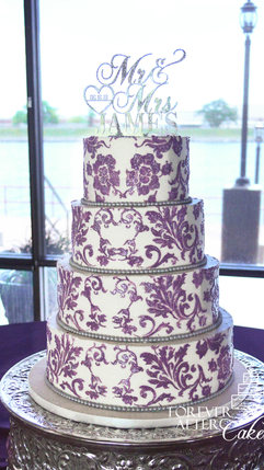 12 Round cake with purple damask and sil