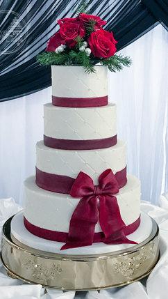 Christmas wedding cake with red fondant