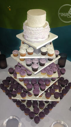 Purple Wedding Cupcakes with Fondant Ruffle and Lace Top Tier