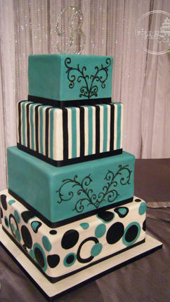 Square, Black & Teal Wedding Cake with Dots, Circles, Stripes and Scrollwork