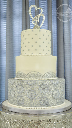 Silver and Blue Lace Wedding Cake