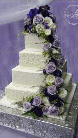 Square Wedding Cake with Purple Rose Cascade