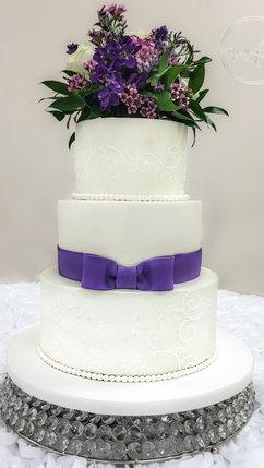 White Wedding Cake with Purple Fondant B