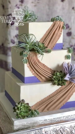 25 Square wedding cake with succulents a
