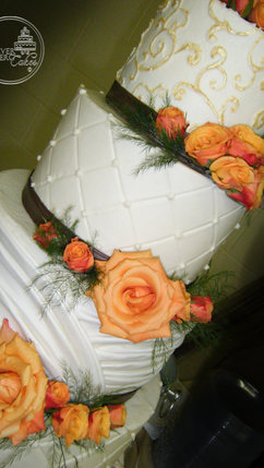 Orange, Gold and Brown Wedding Cake with Shirred Fondant, Quilting and Scrollwork