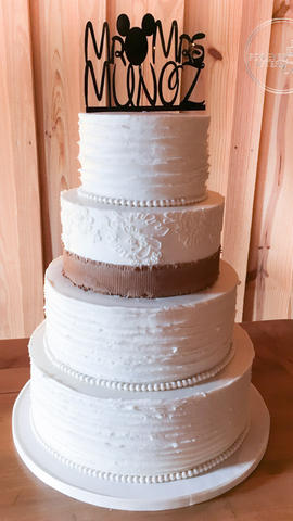 Shabby Chic Wedding Cake with Edible Burlap, Buttercream Ruffle and Lace