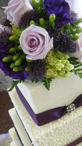 Square Wedding Cake with Cornelli Lace, Purple Ribbon and Brooch