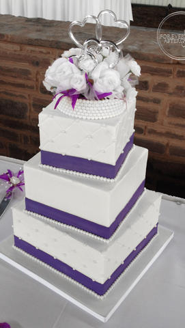 Square Wedding Cake with Quilting, Pearls and Purple Fondant Ribbon