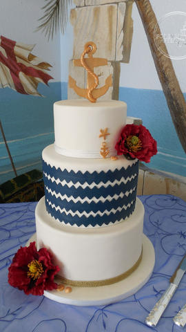 Nautical or Beach Wedding Cake with Navy Chevrons, Rope and Gold Anchor.  The original cake with this design was made by cityviewbakehouse.com_