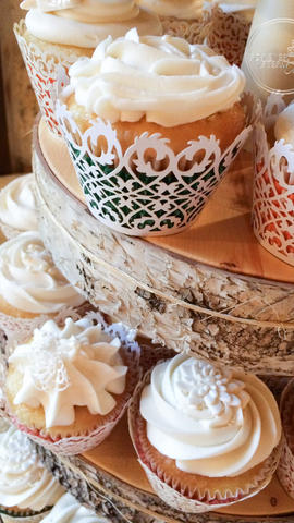 Shabby Chic Wedding Cupcakes with Edible Cake Lace