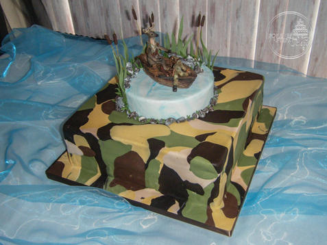 Camo Hunting and Fishing Groom's Cake