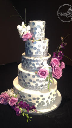 Chic and Contemporary Wedding Cake with Silver Dots Modern, Gatsby