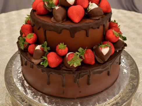 Round Chocolate Strawberry Groom's Cake