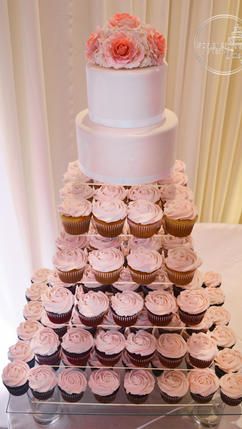 Wedding Rose Swirl Cupcakes with Gumpaste Rose Topper