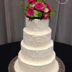 Round Wedding Cake With Textured Buttercream And Monogram