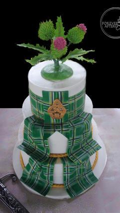 Scottish Wedding Cake with Green Fondant