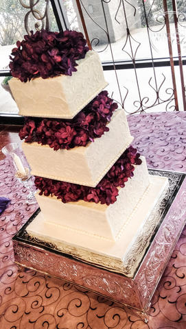Square Wedding Cake with Flower Separator