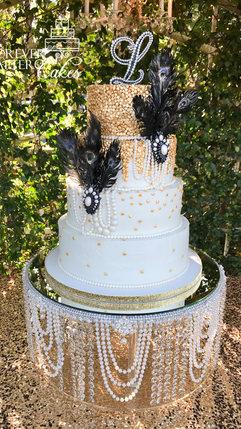 12 Great Gatsby Wedding Cake w-pearls &