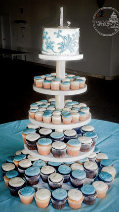 Wedding Cupcakes with Blue Flourish Top Tier