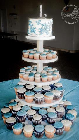 Wedding Cupcakes with Blue Flourish Top Tier