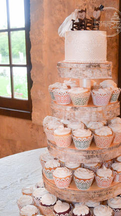 Shabby Chic Wedding Cupcakes with Edible Cake Lace, Country, Rustic