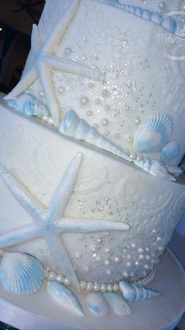 Starfish and Shells Beach Wedding Cake