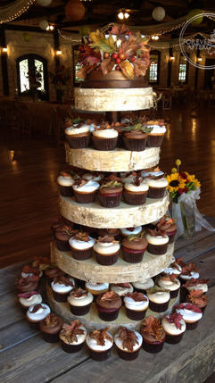 Fall Wedding Cupcakes in Assorted Flavors with Handmade Leaves with Gold Highlights