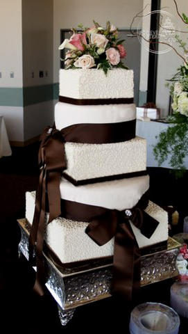 Square Wedding Cake with Cornelli Lace and Brown Ribbon