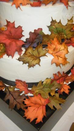 Round Wedding Cake with Handmade Fall Leaves