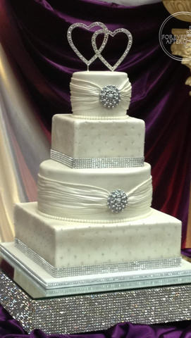 Round and Square Shaped Wedding Cake with Fondant Shirring, Edible Brooch and Bling