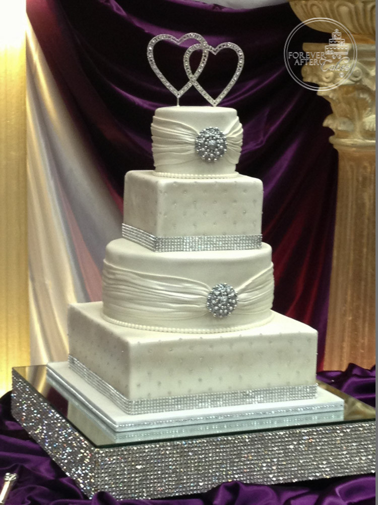 Round and Square Shaped Wedding Cake with Fondant Shirring, Edible ...