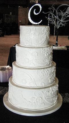 White Henna or Bandana Inspired Wedding Cake