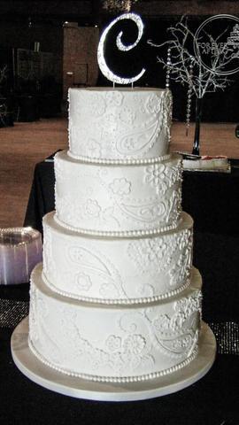 White on White Henna or Bandana Inspired Wedding Cake